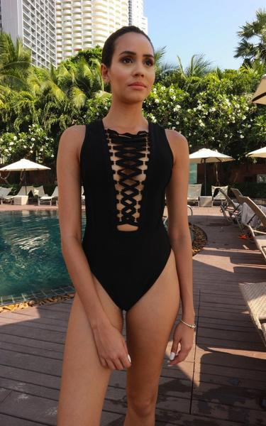 lace up front black bandage swimsuit - front view1 on model
