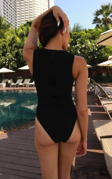 lace up front black bandage swimsuit - back view on model