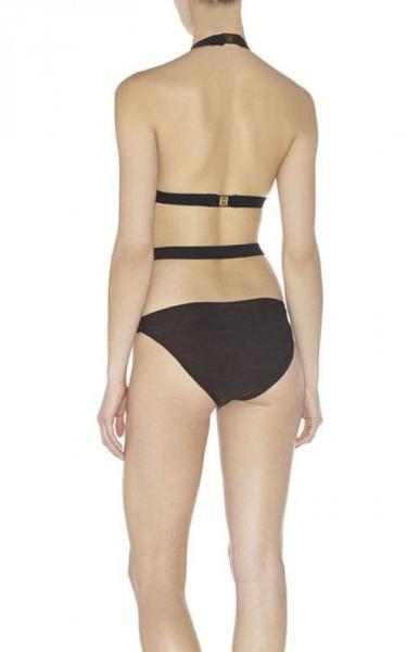 black v-strapped bandage swimwear - back view on model