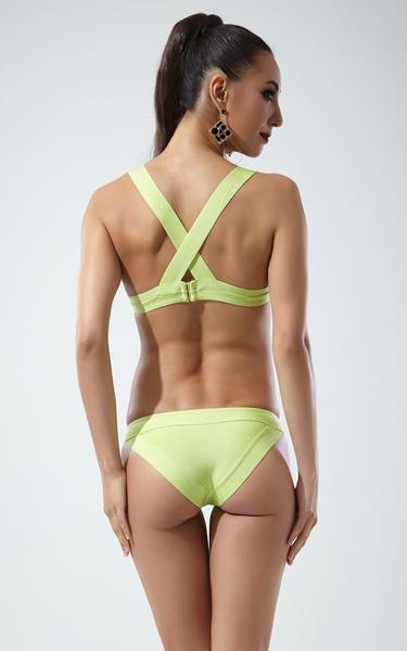 Lime green bandage bikini - back view on model