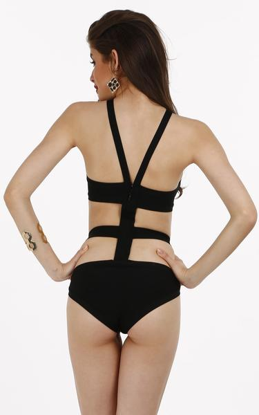 black strap bandage swimwear - back view on model