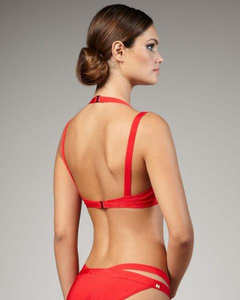 red bandage bikini - back view on model