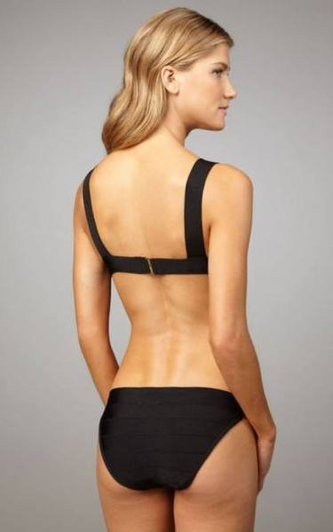 black bandage bikini - back view on model