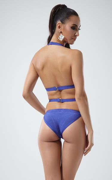 blue strappy bandage swimsuit - back view on model