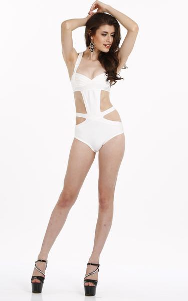 white one piece bandage swimsuit - full view on model
