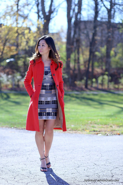 bandage dress and red coat