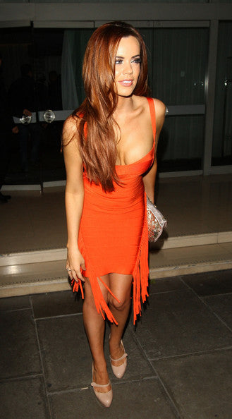 orange tassel bandage dress