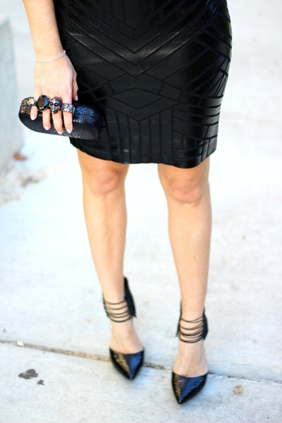 black faux leather mini bandage dress