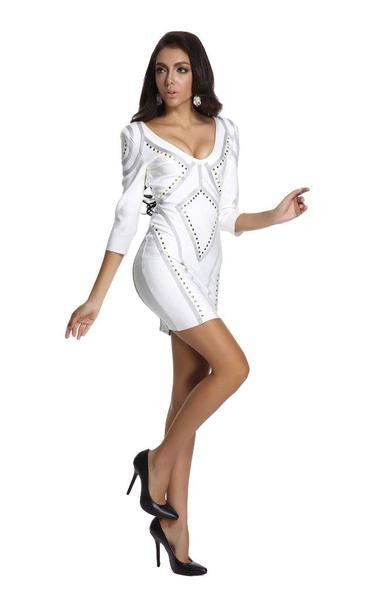 white three quarter sleeve dress