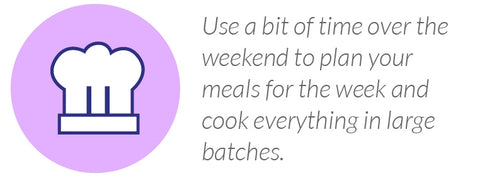 Use a bit of time over the weekend to plan your meals for the week and cook everything in large batches