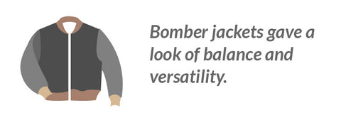Bomber jackets gave a look of balance and versatility.