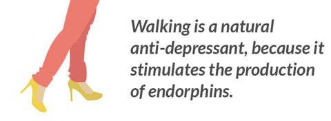 Walking is a natural anti-depressant, because it stimulates the production of endorphins.