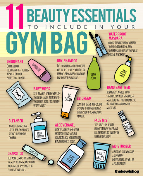 infographic, gym back beauty essentials
