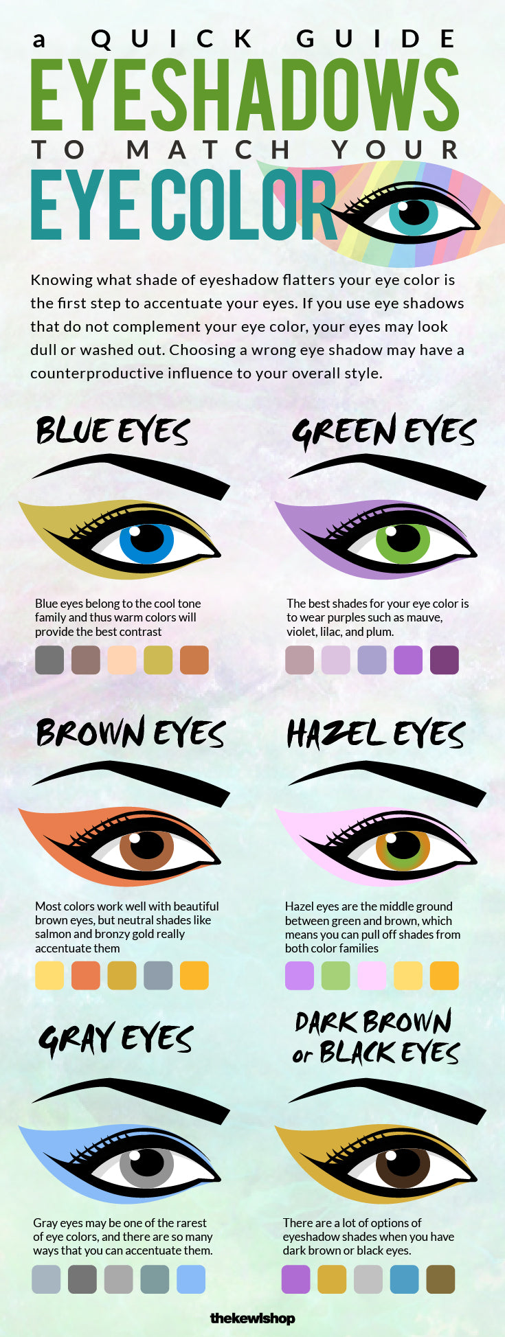 best eyeshadows to match your eye color | the kewl shop