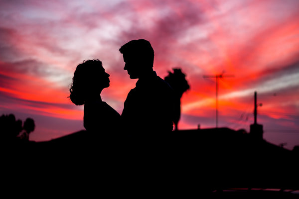 Couple together in sunset