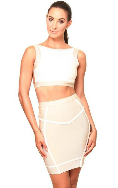 beige two piece bandage set front