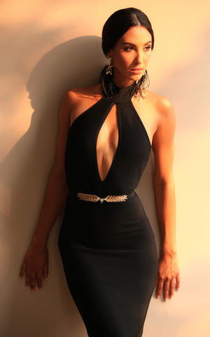 deep v bandage dress