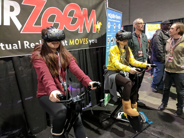 girls on virzoom vr cycles