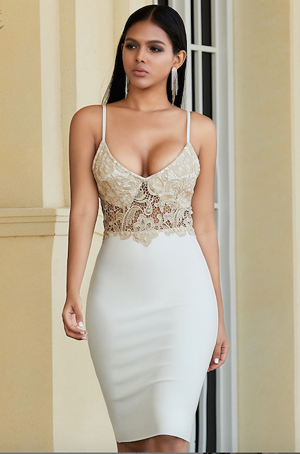 White lace bandage dress - front view on model