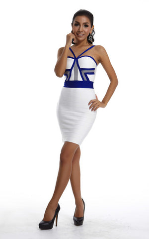 white and blue bandage dress