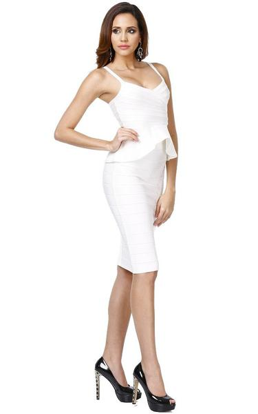 white peplum bandage dress - side view on model