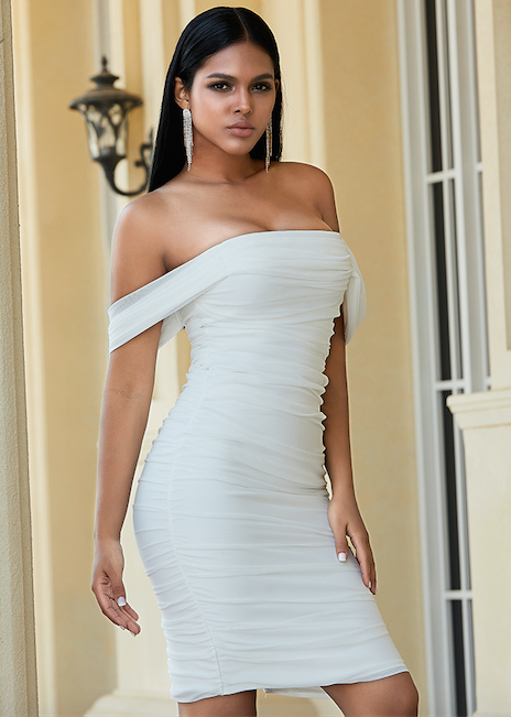 White Draped Bandage Bodycon Dress - Front View On Model
