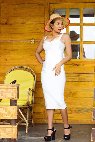 white midi bandage dress - on model