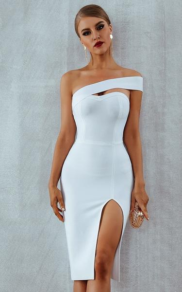 white high slit bandage dress - front view on model