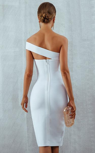 white high slit bandage dress - back view on model