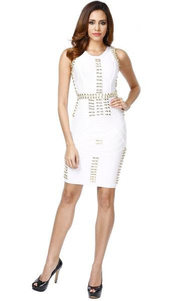 white studded dress