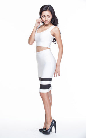 white two piece bandage dress set