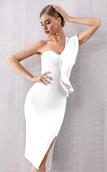 White asymmetrical shoulder bandage dress with thigh split - front view
