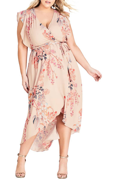 feminine wrap dress on plus sized model