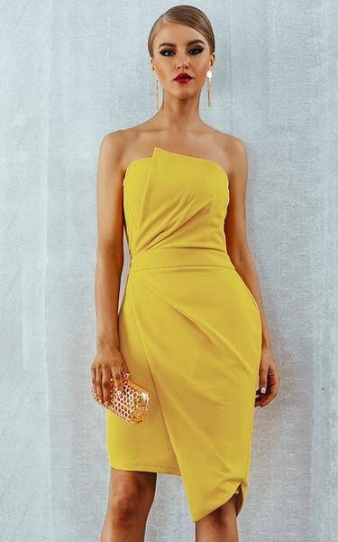 yellow cocktail bodycon dress - front view on model