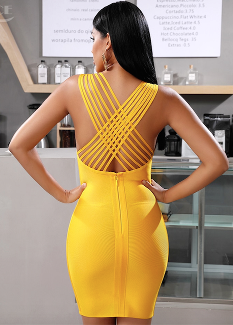 Marigold yellow party bandage bodycon dress - back view on model