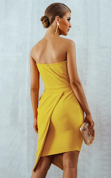 yellow cocktail bodycon dress - back view on model