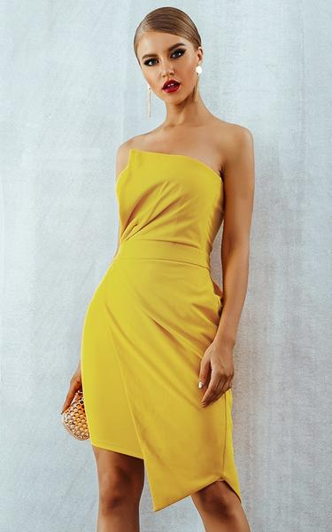 yellow cocktail bodycon dress - side view on model