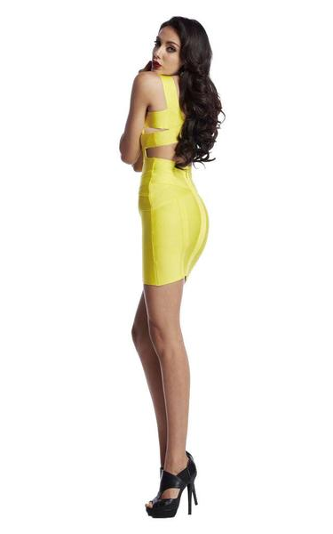 yellow backless bandage dress - on model