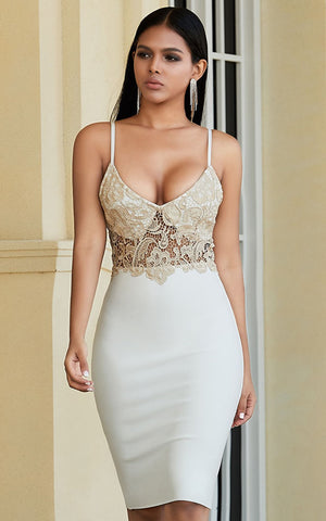 Ara White Lace Bandage Bodycon Dress (All Sizes)