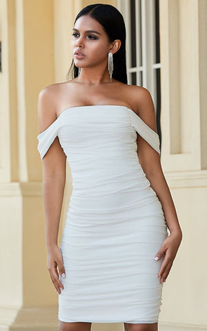 Tamara White Draped Bandage Bodycon Dress (All Sizes)