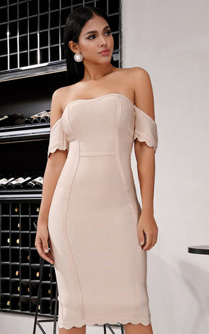 Alaska Beige Short Sleeve Bandage Dress (All Sizes)