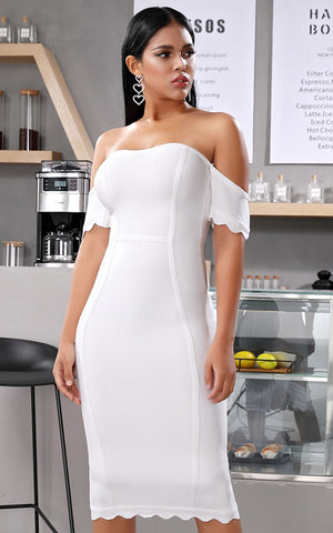 Alaska White Short Sleeve Bandage Dress (All Sizes)