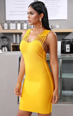 Marigold Yellow Party Bandage Bodycon Dress (All Sizes)