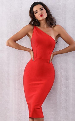 Annie Bright Red Bandage Dress (XS, S, M, L)