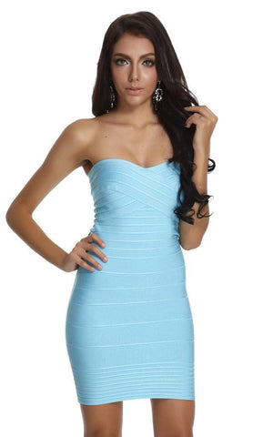 Aqua Blue Strapless Sweetheart Bandage Dress