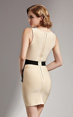 Black And Beige Lace Bandage Dress