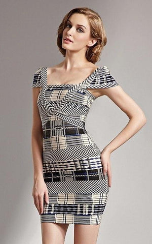 Plaid And Fitted Tartan Cap Sleeve Bandage Dress (M)