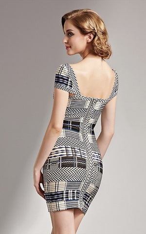 Plaid And Fitted Tartan Cap Sleeve Bandage Dress