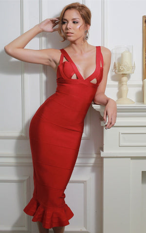 Red Mermaid Bandage Bodycon Dress
