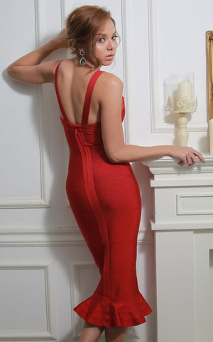 Beautiful Red Mermaid Bandage Dress